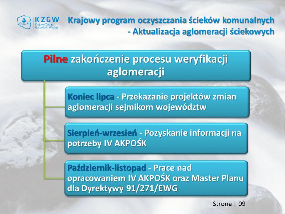 Strona | 09 Krajowy program oczyszczania ścieków komunalnych - Aktualizacja aglomeracji ściekowych Pilne zakończenie procesu weryfikacji aglomeracji Koniec lipca - Przekazanie projektów zmian aglomeracji sejmikom województw Sierpień-wrzesień - Pozyskanie informacji na potrzeby IV AKPOŚK Październik-listopad - Prace nad opracowaniem IV AKPOŚK oraz Master Planu dla Dyrektywy 91/271/EWG