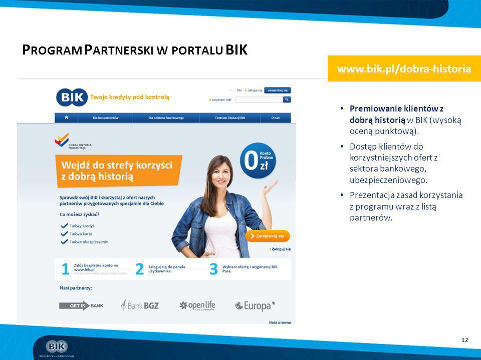 12 P ROGRAM P ARTNERSKI W PORTALU BIK Premiowanie klientów z dobrą historią w BIK (wysoką oceną punktową). Dostęp klientów do korzystniejszych ofert z