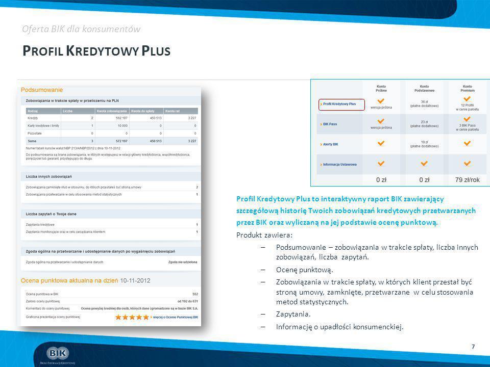 7 P ROFIL K REDYTOWY P LUS Oferta BIK dla konsumentów Profil Kredytowy Plus to interaktywny raport BIK zawierający szczegółową historię Twoich zobowią
