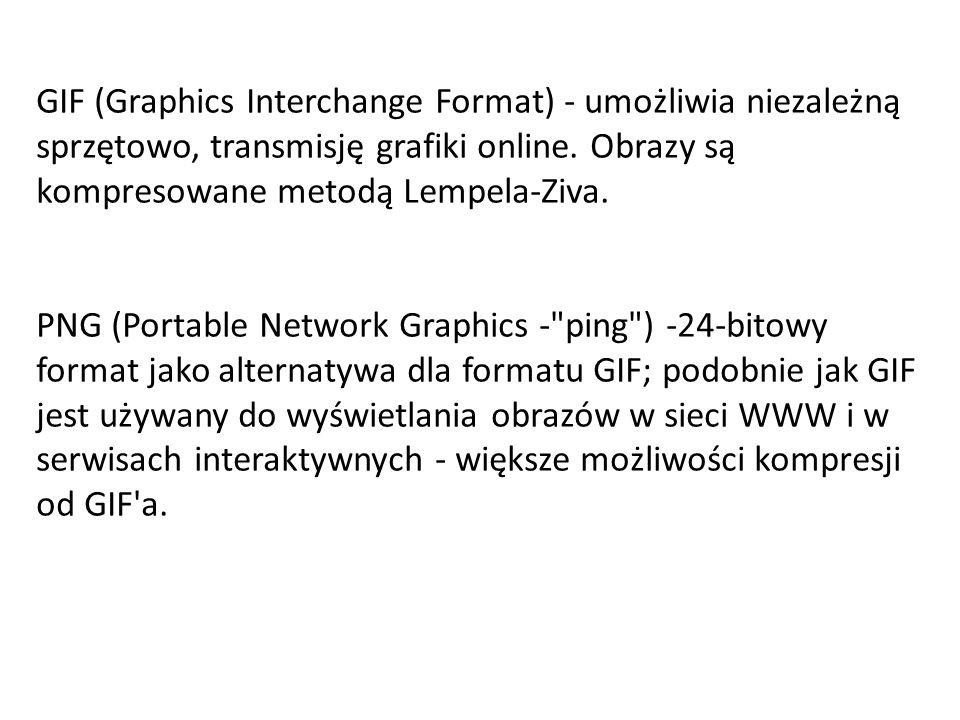 PDF – est używany przez program Adobe Acrobat, PICT - używany przez programy graficzne jako format pośredni do przesyłania plików między aplikacjami.