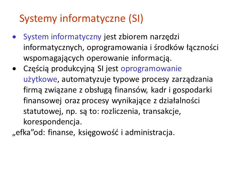  System informatyczny jest zbiorem narzędzi informatycznych, oprogramowania i środków łączności wspomagających operowanie informacją.