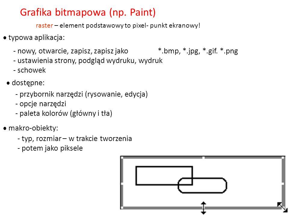 - bitmapowa (rastrowa) - np. Paint, Photoshop - wektorowa – np.Corel, narzędzia Office Grafika Główny podział: