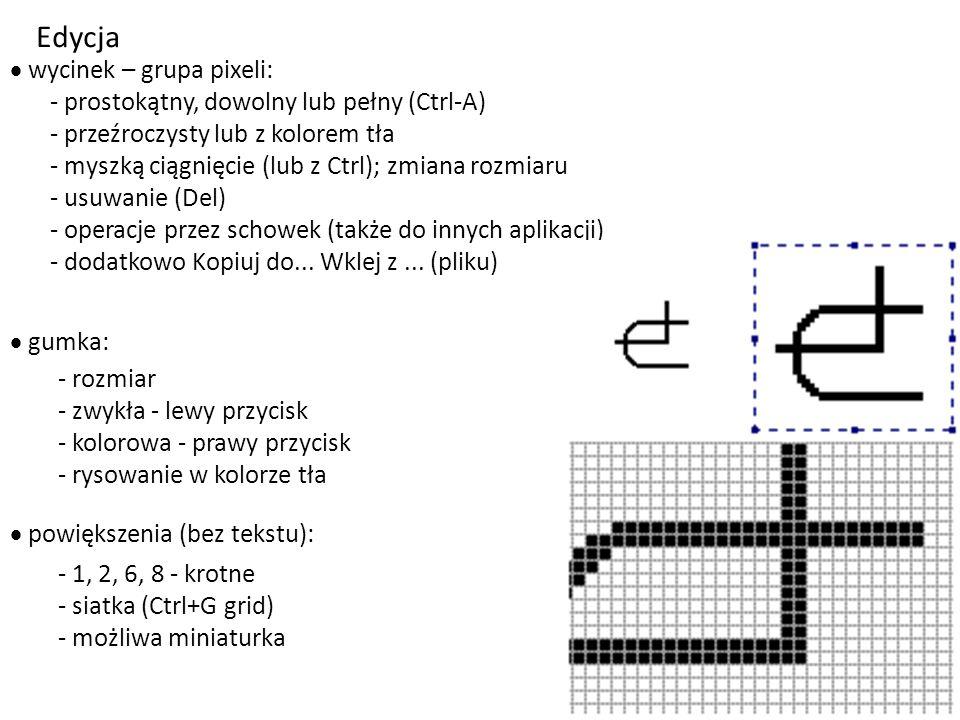- linia pozioma, pionowa lub pod 45 0 - prostokąt  kwadrat - elipsa  okrąg Figury + tekst  kolory - główny i tła:  szczególne figury - Shift:  ud