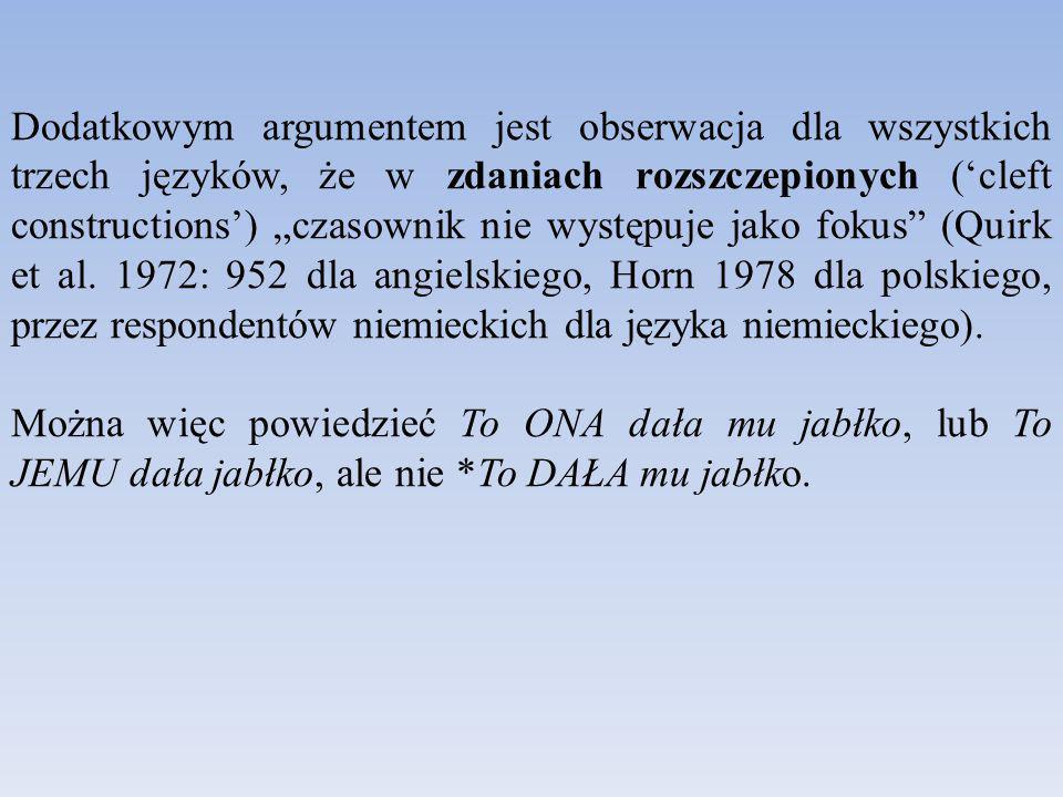 """Dodatkowym argumentem jest obserwacja dla wszystkich trzech języków, że w zdaniach rozszczepionych ('cleft constructions') """"czasownik nie występuje jako fokus (Quirk et al."""