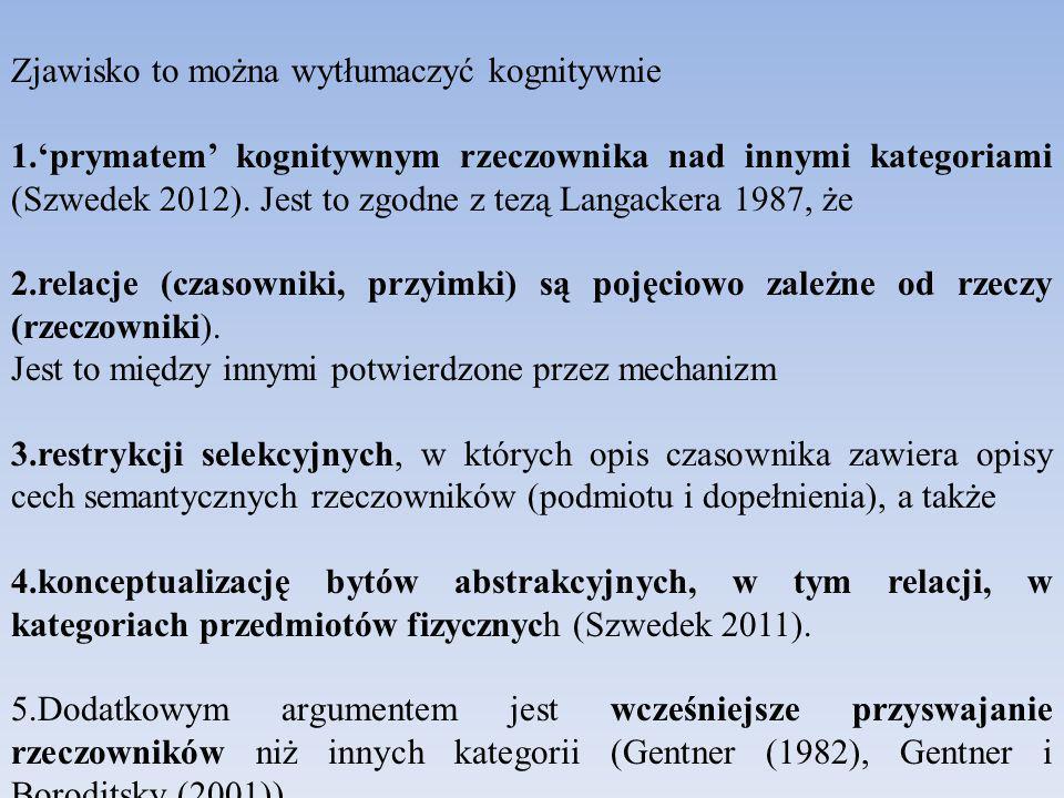 Zjawisko to można wytłumaczyć kognitywnie 1.'prymatem' kognitywnym rzeczownika nad innymi kategoriami (Szwedek 2012).