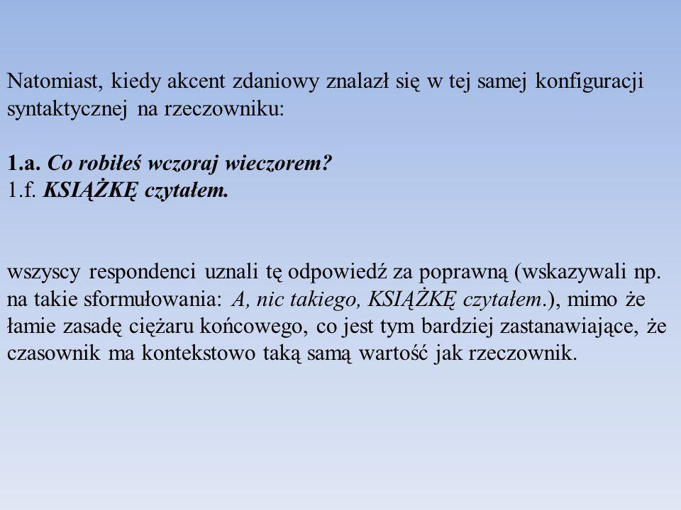 Drugie założenie, że rzeczowniki kontekstowo znane/dane nie mogą być akcentowane, wynika z następujących przykładów.