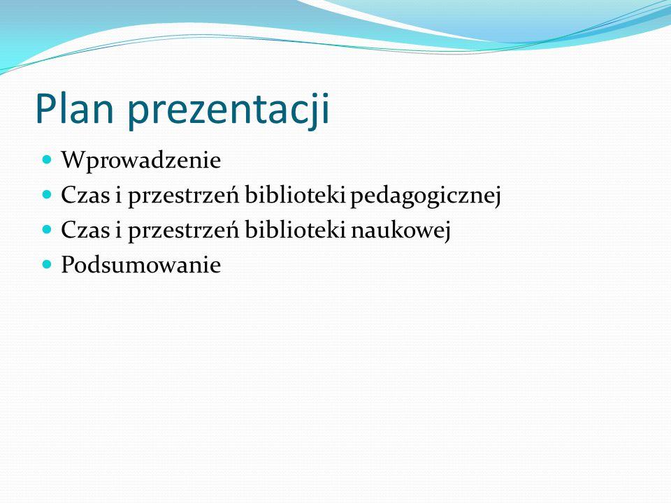 Plan prezentacji Wprowadzenie Czas i przestrzeń biblioteki pedagogicznej Czas i przestrzeń biblioteki naukowej Podsumowanie