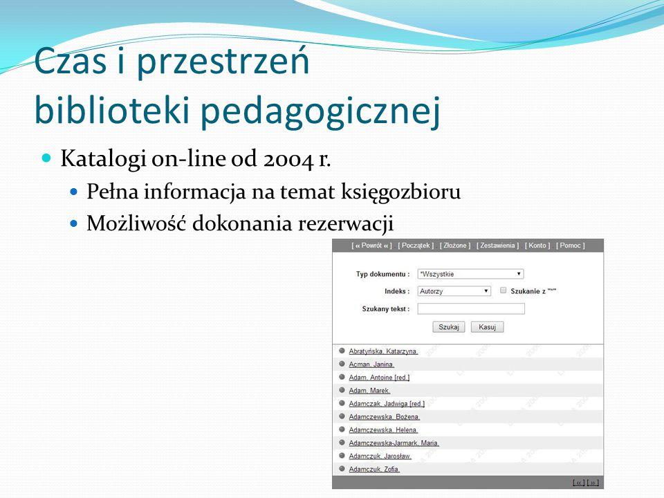 Czas i przestrzeń biblioteki pedagogicznej Katalogi on-line od 2004 r. Pełna informacja na temat księgozbioru Możliwość dokonania rezerwacji