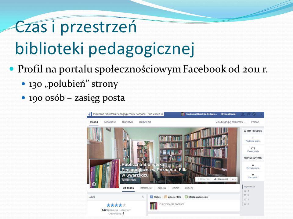 """Czas i przestrzeń biblioteki pedagogicznej Profil na portalu społecznościowym Facebook od 2011 r. 130 """"polubień"""" strony 190 osób – zasięg posta"""