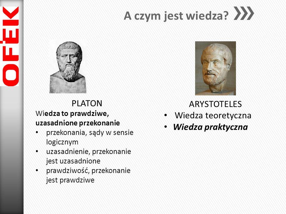 A czym jest wiedza? PLATON Wiedza to prawdziwe, uzasadnione przekonanie przekonania, sądy w sensie logicznym uzasadnienie, przekonanie jest uzasadnion
