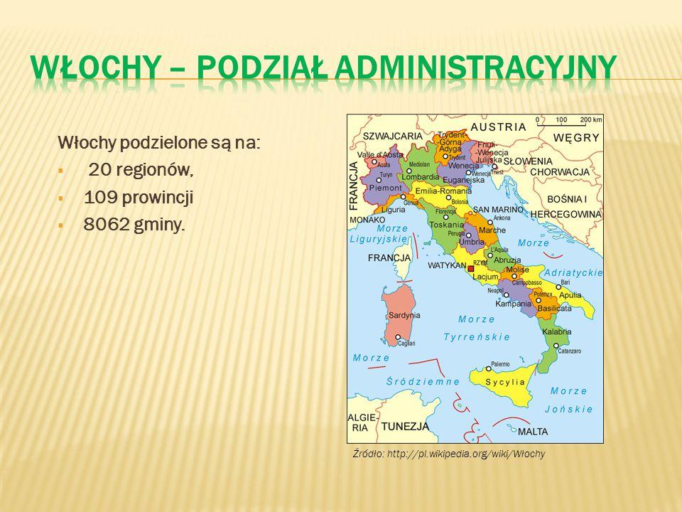 Włochy podzielone są na:  20 regionów,  109 prowincji  8062 gminy. Źródło: http://pl.wikipedia.org/wiki/Włochy