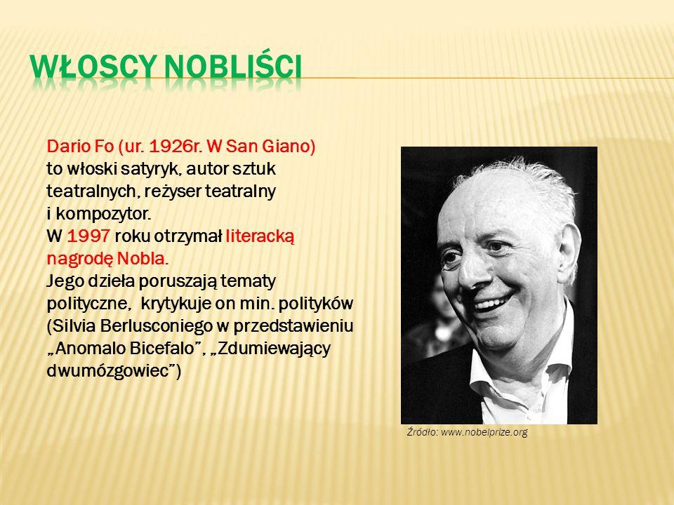 Dario Fo (ur. 1926r. W San Giano) to włoski satyryk, autor sztuk teatralnych, reżyser teatralny i kompozytor. W 1997 roku otrzymał literacką nagrodę N
