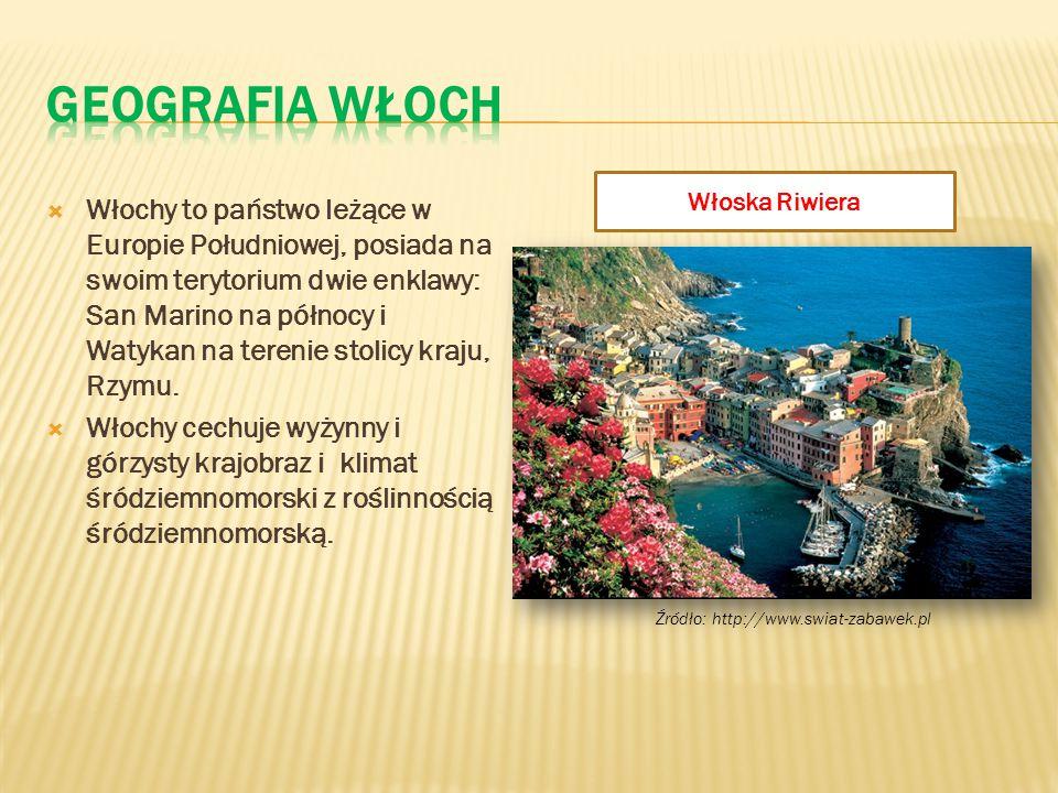  Włochy to państwo leżące w Europie Południowej, posiada na swoim terytorium dwie enklawy: San Marino na północy i Watykan na terenie stolicy kraju,