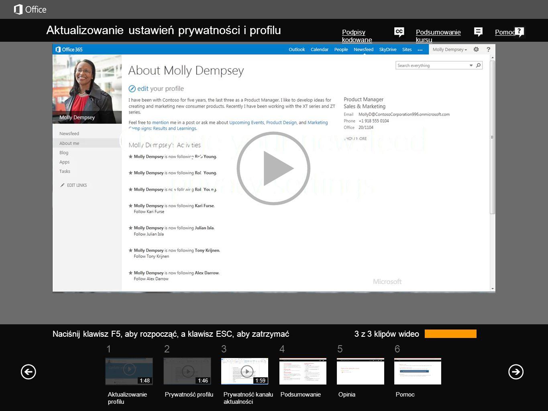 Znajdowanie swojego profilu Łącze do Twojego profilu znajduje się w prawym górnym rogu dowolnej ze stron sieci Web programu SharePoint 2013 lub usługi Office 365 organizacji.