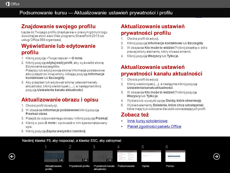 Znajdowanie swojego profilu Łącze do Twojego profilu znajduje się w prawym górnym rogu dowolnej ze stron sieci Web programu SharePoint 2013 lub usługi
