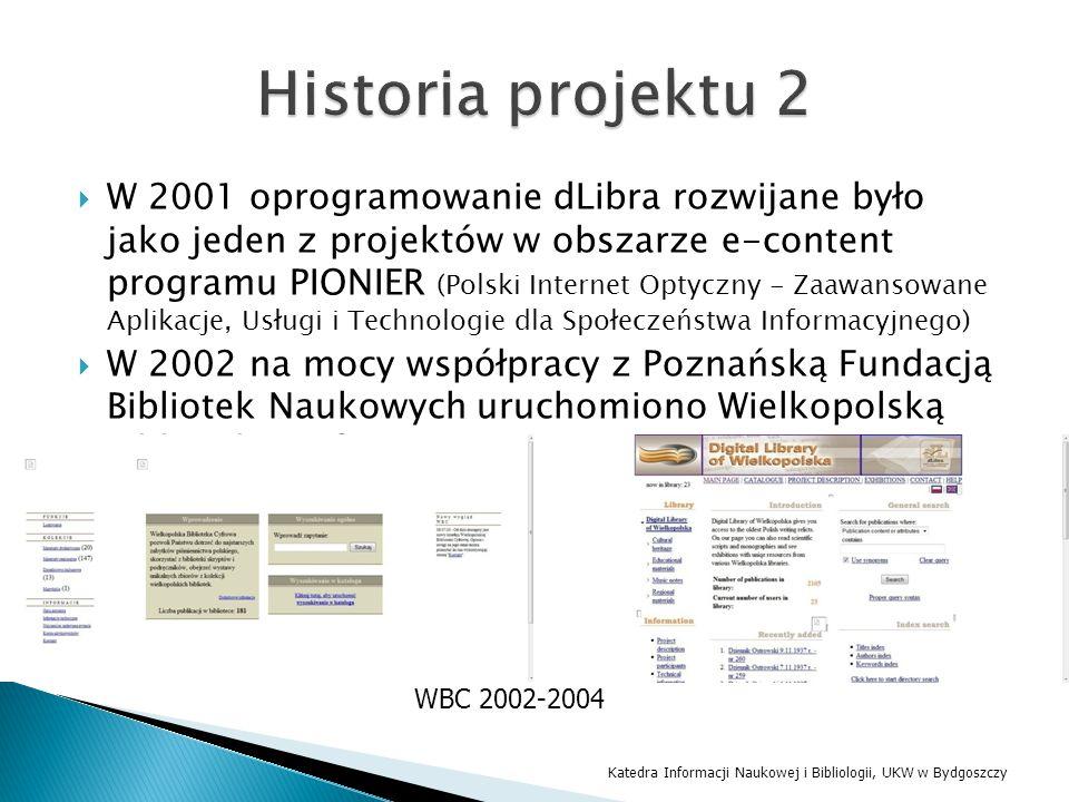  W 2001 oprogramowanie dLibra rozwijane było jako jeden z projektów w obszarze e-content programu PIONIER (Polski Internet Optyczny - Zaawansowane Ap