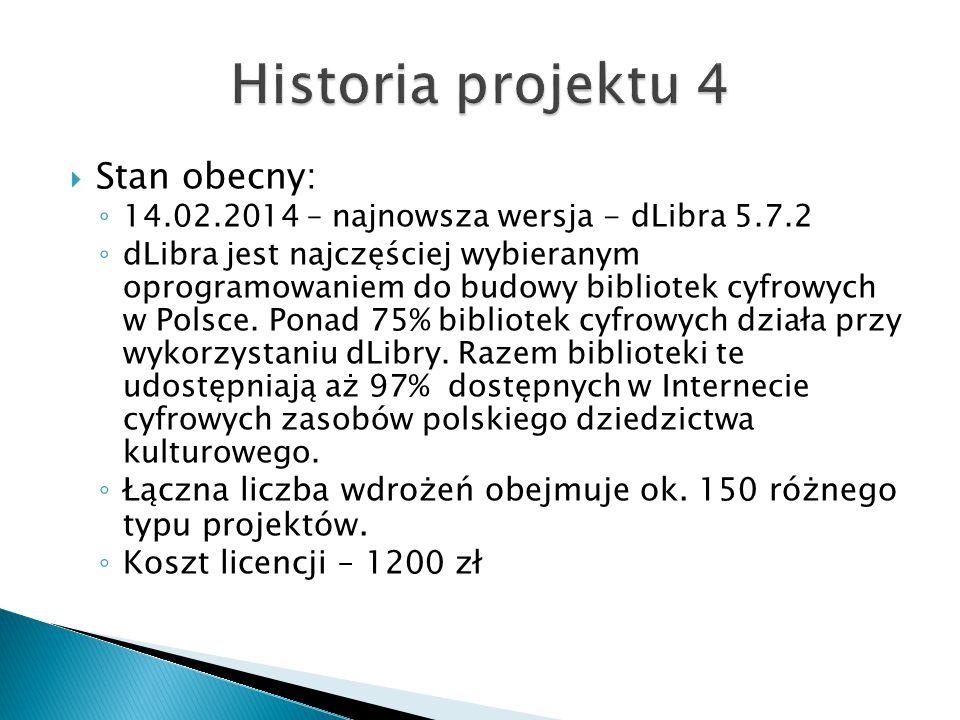  Stan obecny: ◦ 14.02.2014 – najnowsza wersja - dLibra 5.7.2 ◦ dLibra jest najczęściej wybieranym oprogramowaniem do budowy bibliotek cyfrowych w Pol
