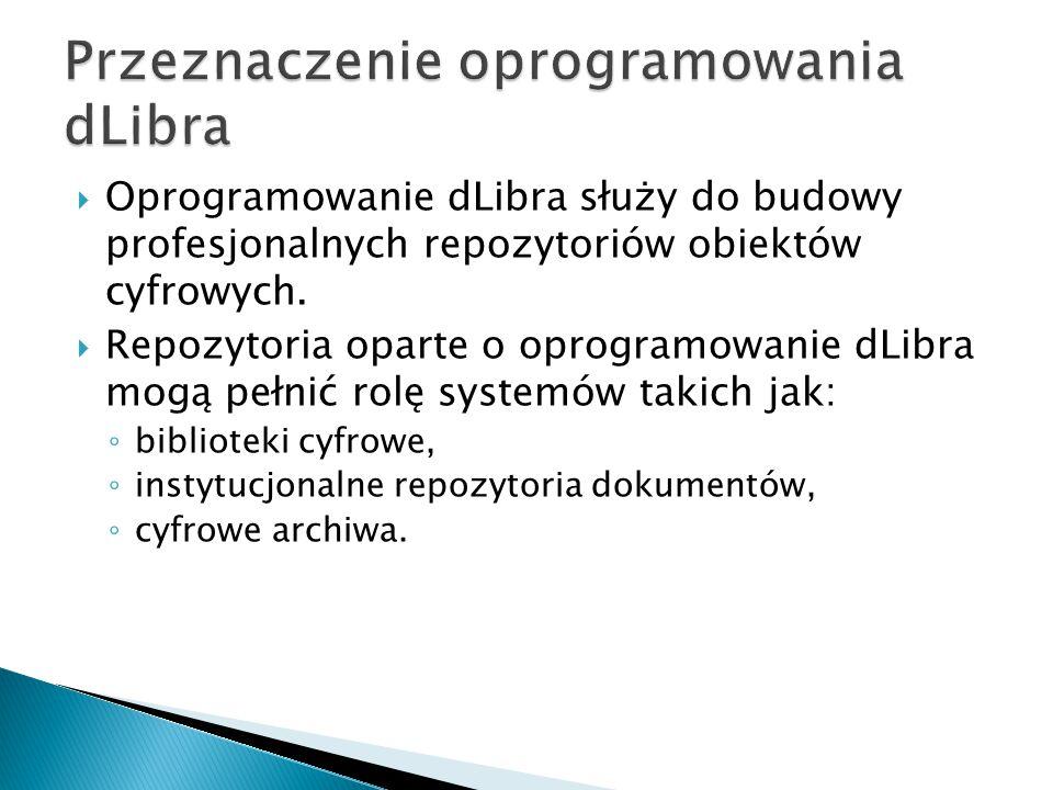  Oprogramowanie dLibra służy do budowy profesjonalnych repozytoriów obiektów cyfrowych.  Repozytoria oparte o oprogramowanie dLibra mogą pełnić rolę