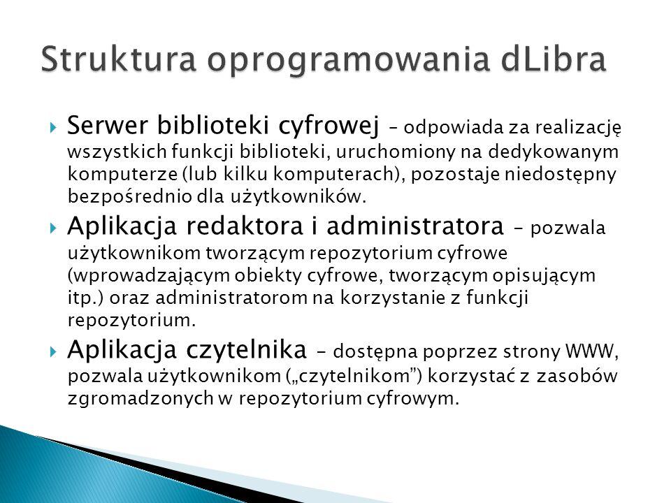  Serwer biblioteki cyfrowej – odpowiada za realizację wszystkich funkcji biblioteki, uruchomiony na dedykowanym komputerze (lub kilku komputerach), p