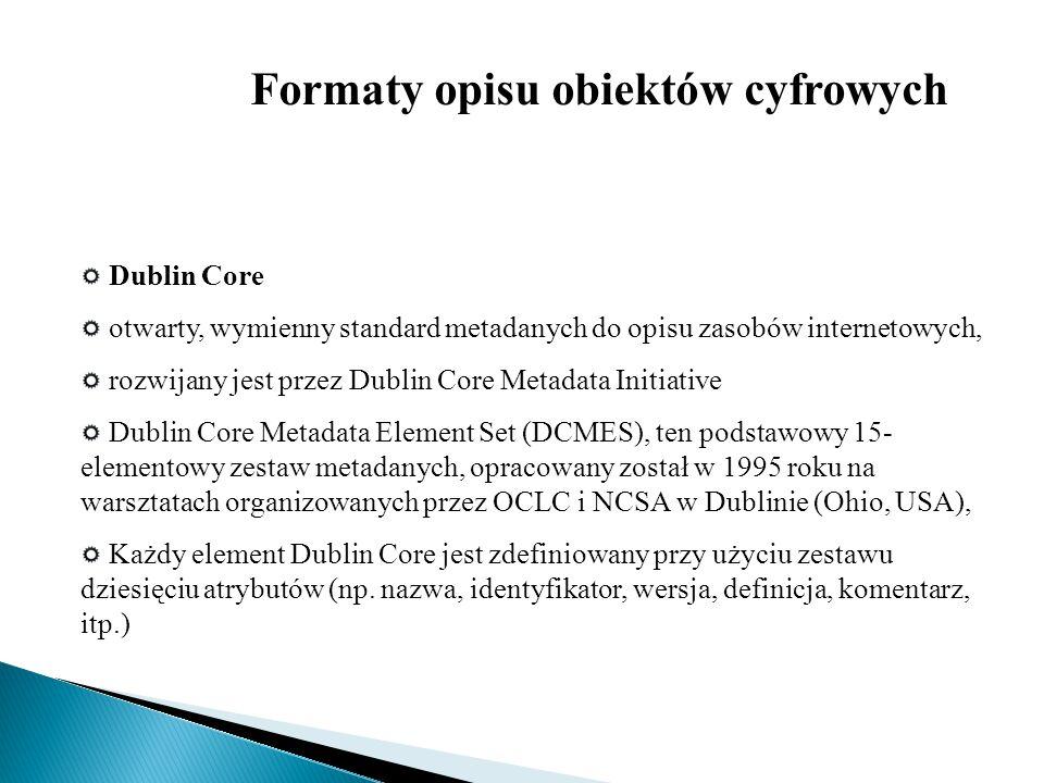Dublin Core otwarty, wymienny standard metadanych do opisu zasobów internetowych, rozwijany jest przez Dublin Core Metadata Initiative Dublin Core Met