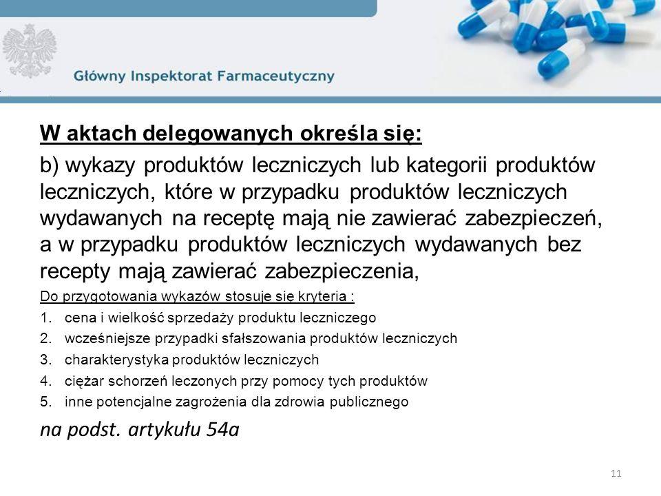 W aktach delegowanych określa się: b) wykazy produktów leczniczych lub kategorii produktów leczniczych, które w przypadku produktów leczniczych wydawanych na receptę mają nie zawierać zabezpieczeń, a w przypadku produktów leczniczych wydawanych bez recepty mają zawierać zabezpieczenia, Do przygotowania wykazów stosuje się kryteria : 1.cena i wielkość sprzedaży produktu leczniczego 2.wcześniejsze przypadki sfałszowania produktów leczniczych 3.charakterystyka produktów leczniczych 4.ciężar schorzeń leczonych przy pomocy tych produktów 5.inne potencjalne zagrożenia dla zdrowia publicznego na podst.