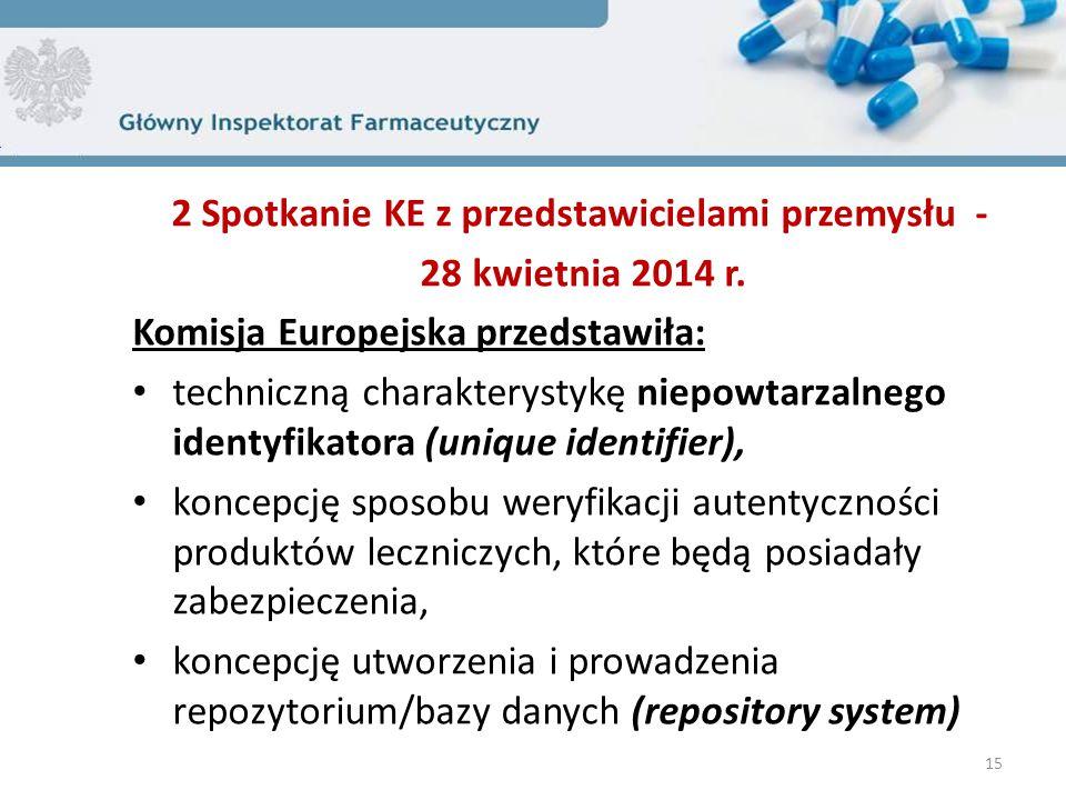 2 Spotkanie KE z przedstawicielami przemysłu - 28 kwietnia 2014 r. Komisja Europejska przedstawiła: techniczną charakterystykę niepowtarzalnego identy