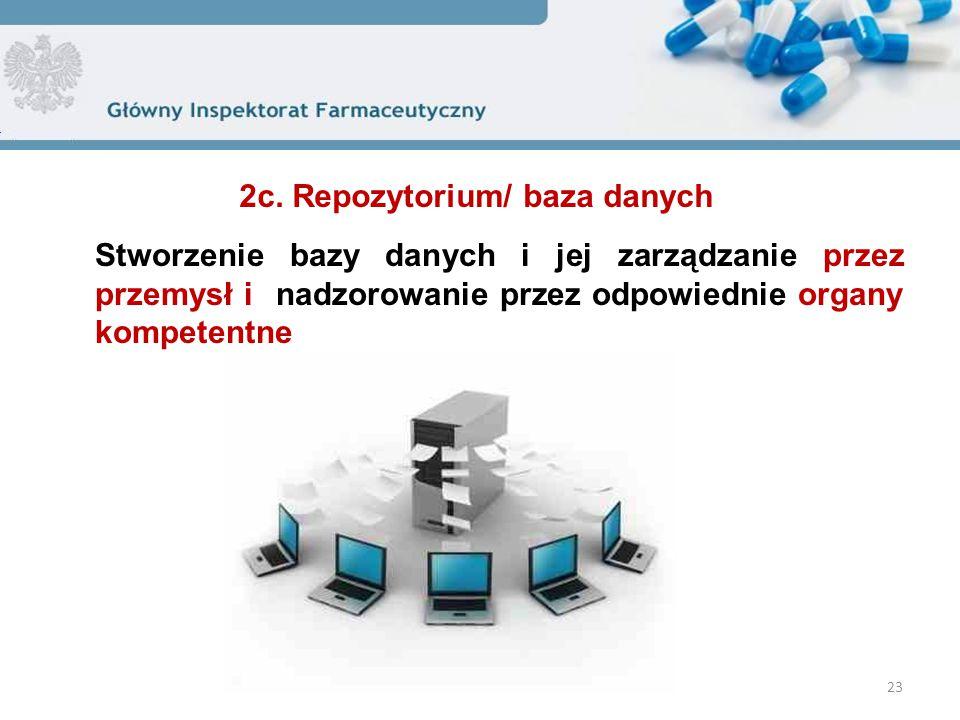 Stworzenie bazy danych i jej zarządzanie przez przemysł i nadzorowanie przez odpowiednie organy kompetentne 23 2c. Repozytorium/ baza danych