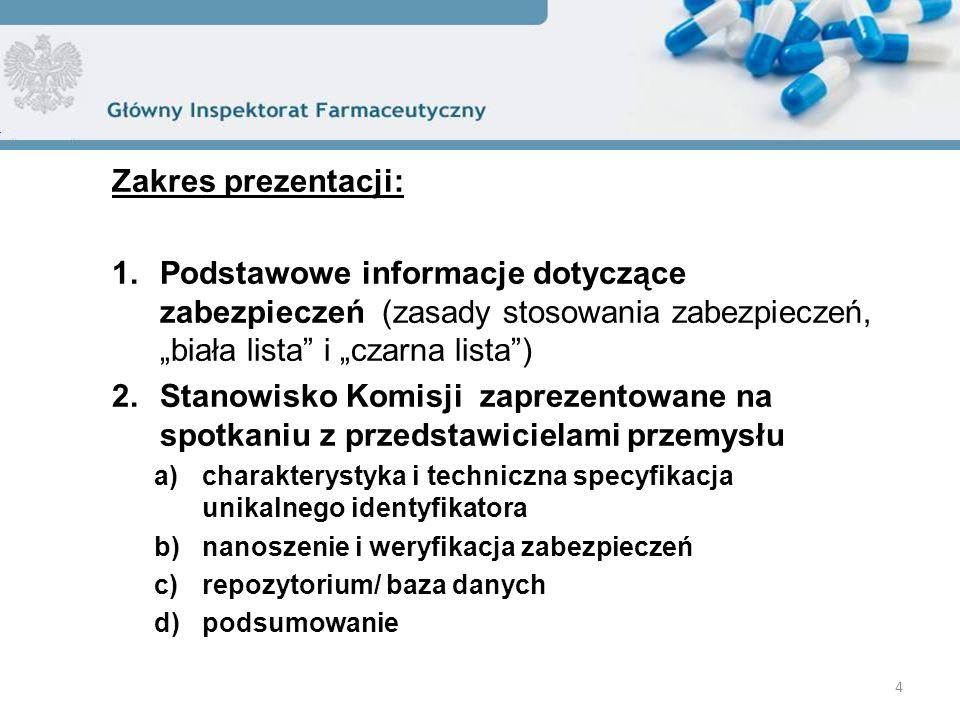 """Zakres prezentacji: 1.Podstawowe informacje dotyczące zabezpieczeń (zasady stosowania zabezpieczeń, """"biała lista"""" i """"czarna lista"""") 2.Stanowisko Komis"""
