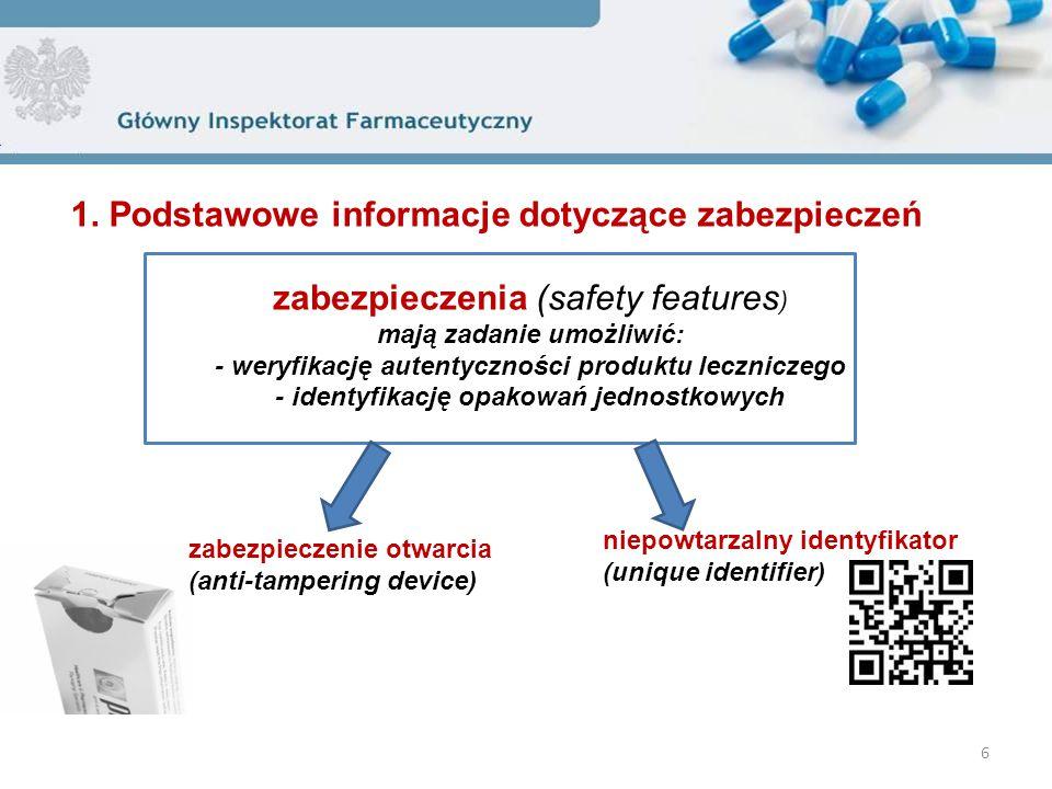 6 zabezpieczenia (safety features ) mają zadanie umożliwić: - weryfikację autentyczności produktu leczniczego - identyfikację opakowań jednostkowych niepowtarzalny identyfikator (unique identifier) zabezpieczenie otwarcia (anti-tampering device)