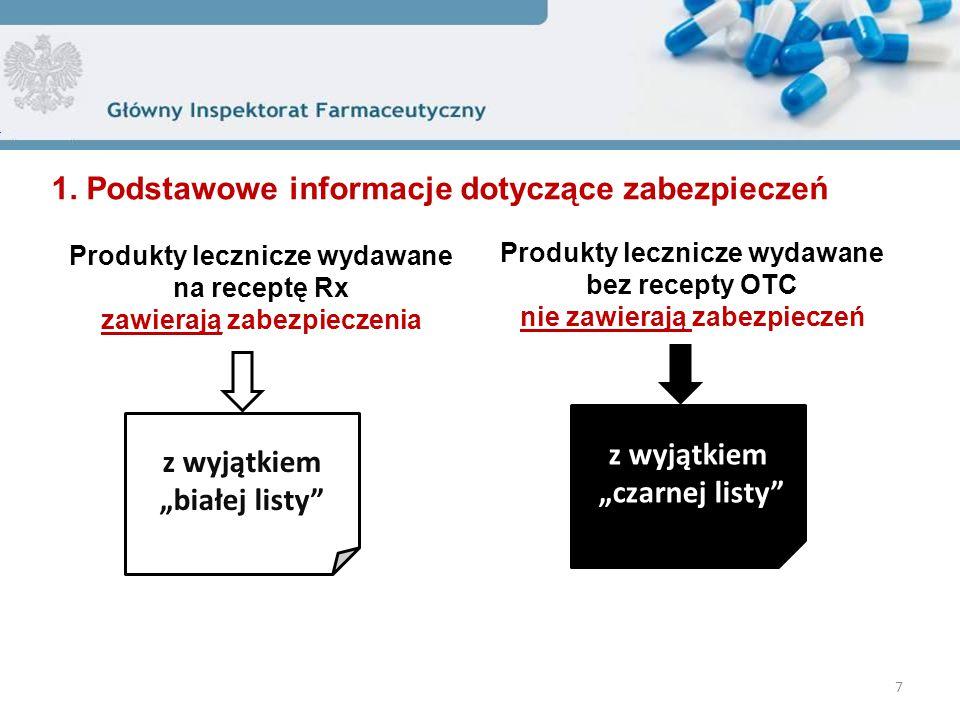 """Produkty lecznicze wydawane na receptę Rx zawierają zabezpieczenia 7 z wyjątkiem """"czarnej listy Produkty lecznicze wydawane bez recepty OTC nie zawierają zabezpieczeń z wyjątkiem """"białej listy 1."""