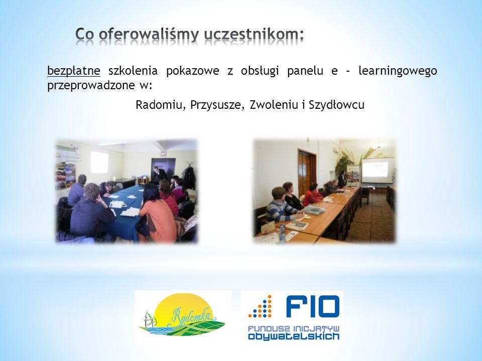 bezpłatne szkolenia pokazowe z obsługi panelu e – learningowego przeprowadzone w: Radomiu, Przysusze, Zwoleniu i Szydłowcu