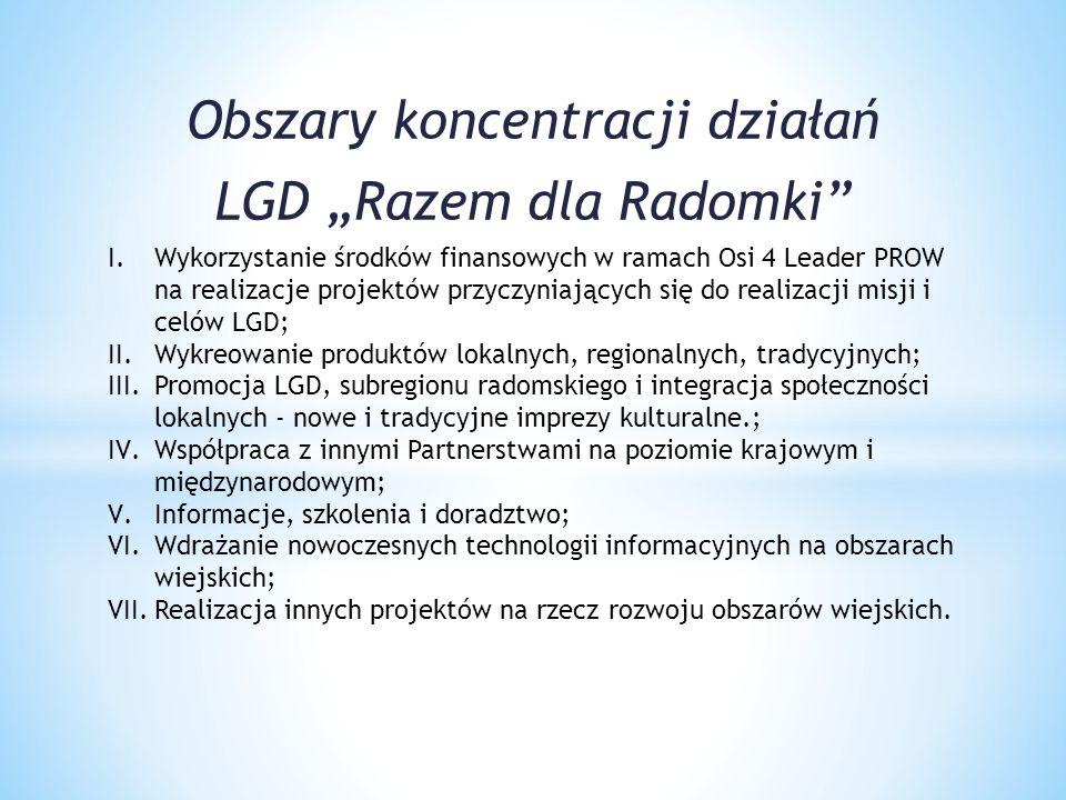 """Obszary koncentracji działań LGD """"Razem dla Radomki"""" I.Wykorzystanie środków finansowych w ramach Osi 4 Leader PROW na realizacje projektów przyczynia"""