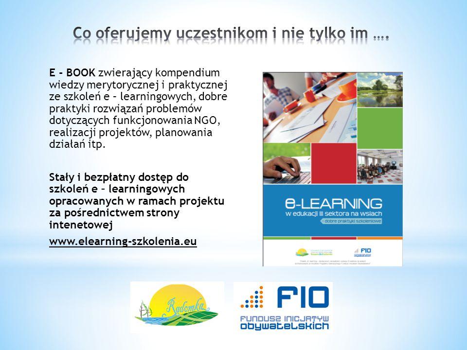 E - BOOK zwierający kompendium wiedzy merytorycznej i praktycznej ze szkoleń e – learningowych, dobre praktyki rozwiązań problemów dotyczących funkcjo