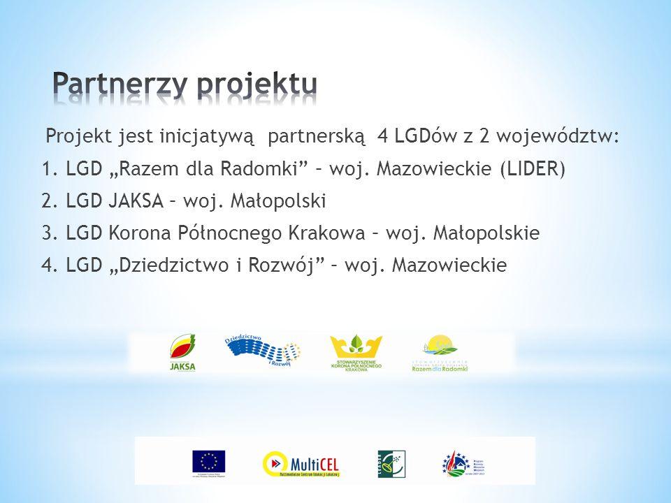 """Projekt jest inicjatywą partnerską 4 LGDów z 2 województw: 1. LGD """"Razem dla Radomki"""" – woj. Mazowieckie (LIDER) 2. LGD JAKSA – woj. Małopolski 3. LGD"""