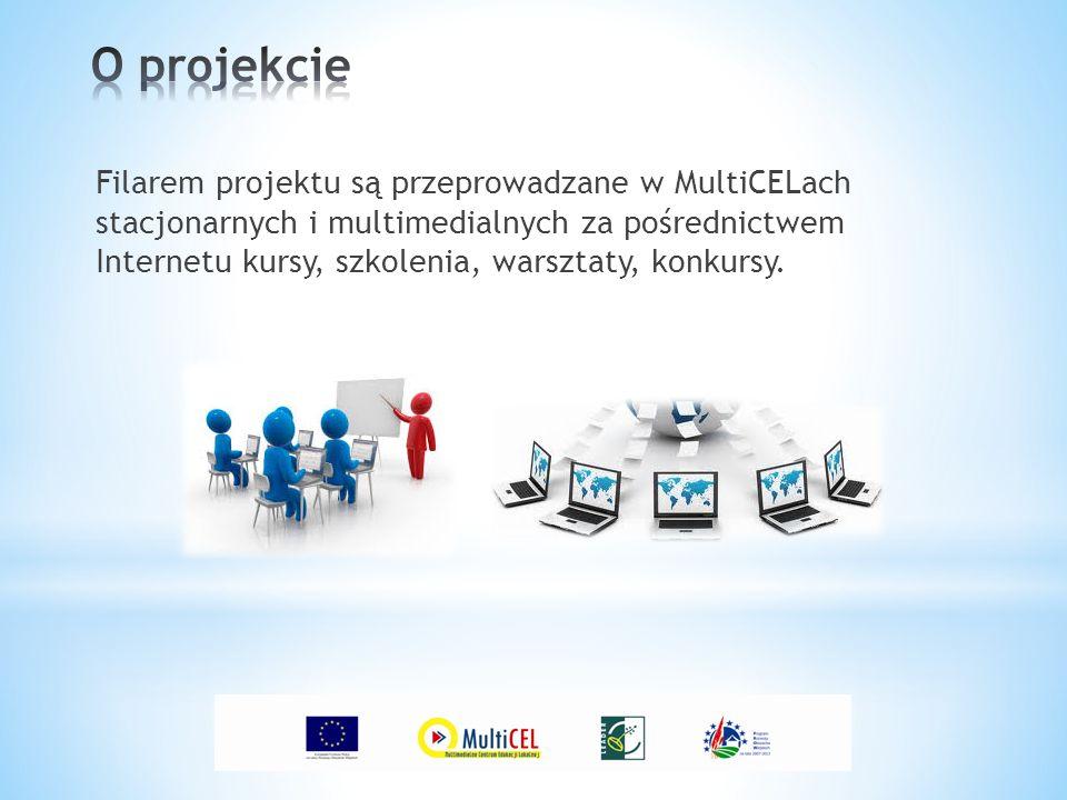 Filarem projektu są przeprowadzane w MultiCELach stacjonarnych i multimedialnych za pośrednictwem Internetu kursy, szkolenia, warsztaty, konkursy.