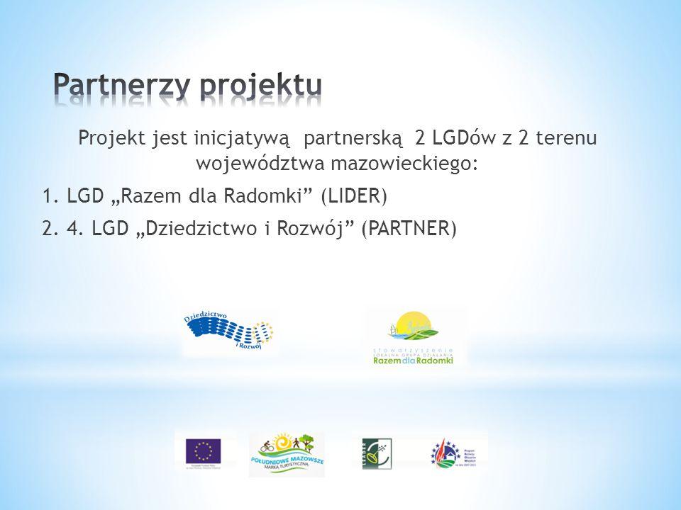 """Projekt jest inicjatywą partnerską 2 LGDów z 2 terenu województwa mazowieckiego: 1. LGD """"Razem dla Radomki"""" (LIDER) 2. 4. LGD """"Dziedzictwo i Rozwój"""" ("""