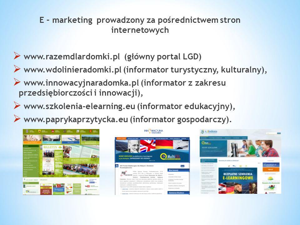E – marketing prowadzony za pośrednictwem stron internetowych  www.razemdlardomki.pl (główny portal LGD)  www.wdolinieradomki.pl (informator turysty