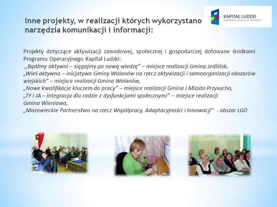 Inne projekty, w realizacji których wykorzystano nowoczesne narzędzia komunikacji i informacji: Projekty dotyczące aktywizacji zawodowej, społecznej i