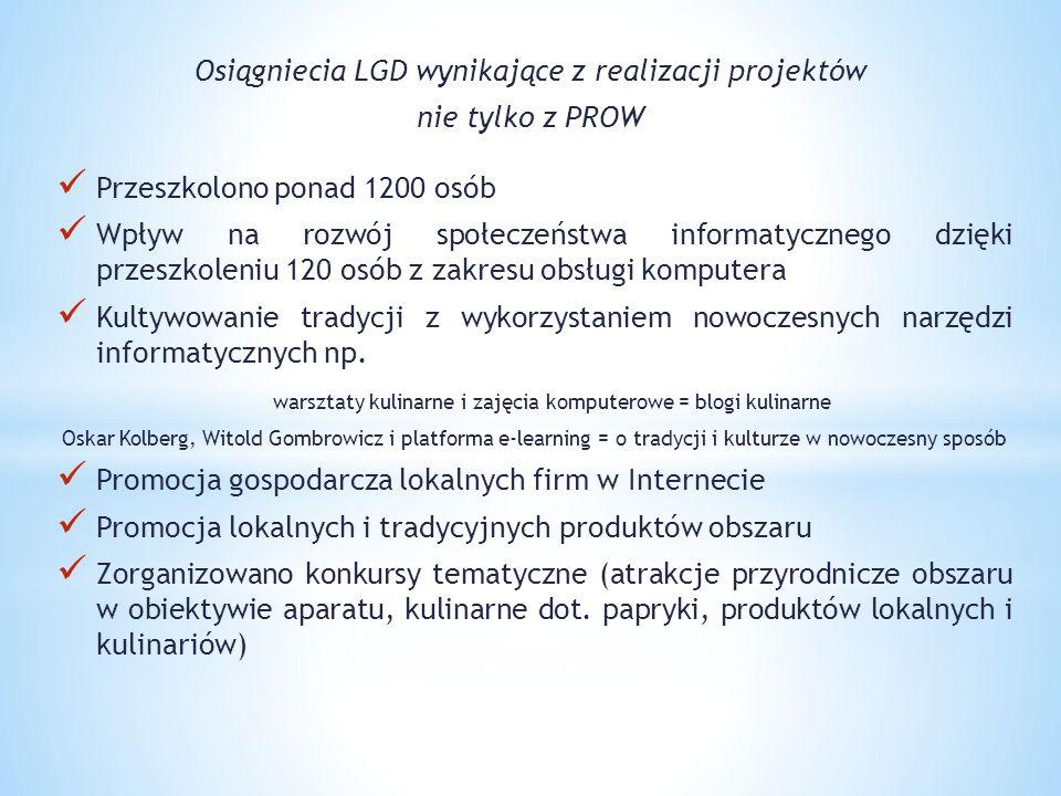 Osiągniecia LGD wynikające z realizacji projektów nie tylko z PROW Przeszkolono ponad 1200 osób Wpływ na rozwój społeczeństwa informatycznego dzięki p