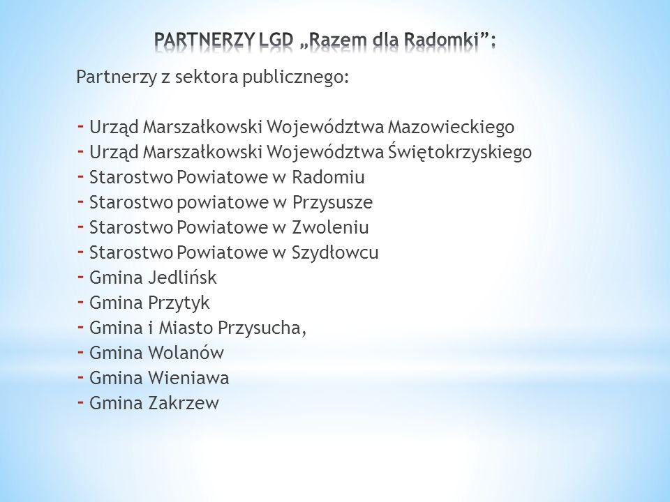 Partnerzy z sektora publicznego: - Urząd Marszałkowski Województwa Mazowieckiego - Urząd Marszałkowski Województwa Świętokrzyskiego - Starostwo Powiat
