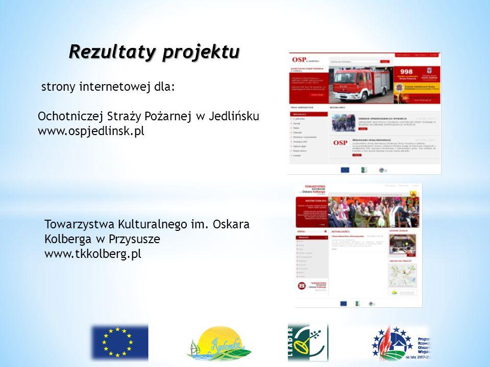 Rezultaty projektu strony internetowej dla: Ochotniczej Straży Pożarnej w Jedlińsku www.ospjedlinsk.pl Towarzystwa Kulturalnego im. Oskara Kolberga w