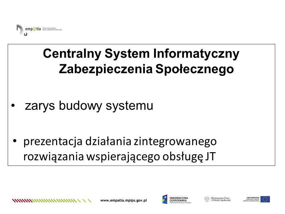 Centralny System Informatyczny Zabezpieczenia Społecznego zarys budowy systemu prezentacja działania zintegrowanego rozwiązania wspierającego obsługę