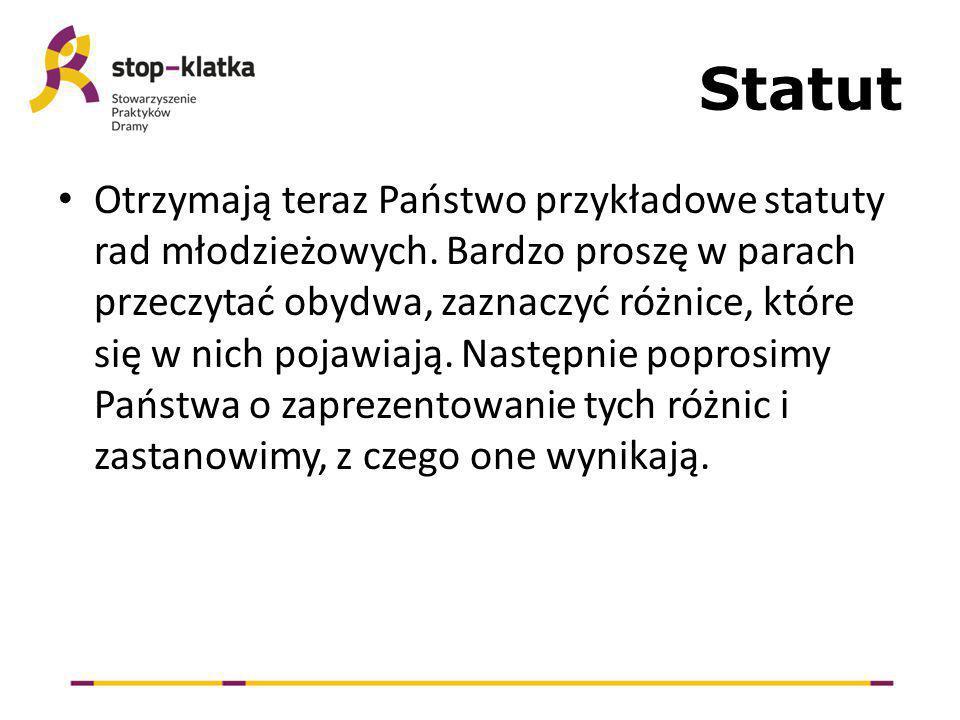 Statut Otrzymają teraz Państwo przykładowe statuty rad młodzieżowych.