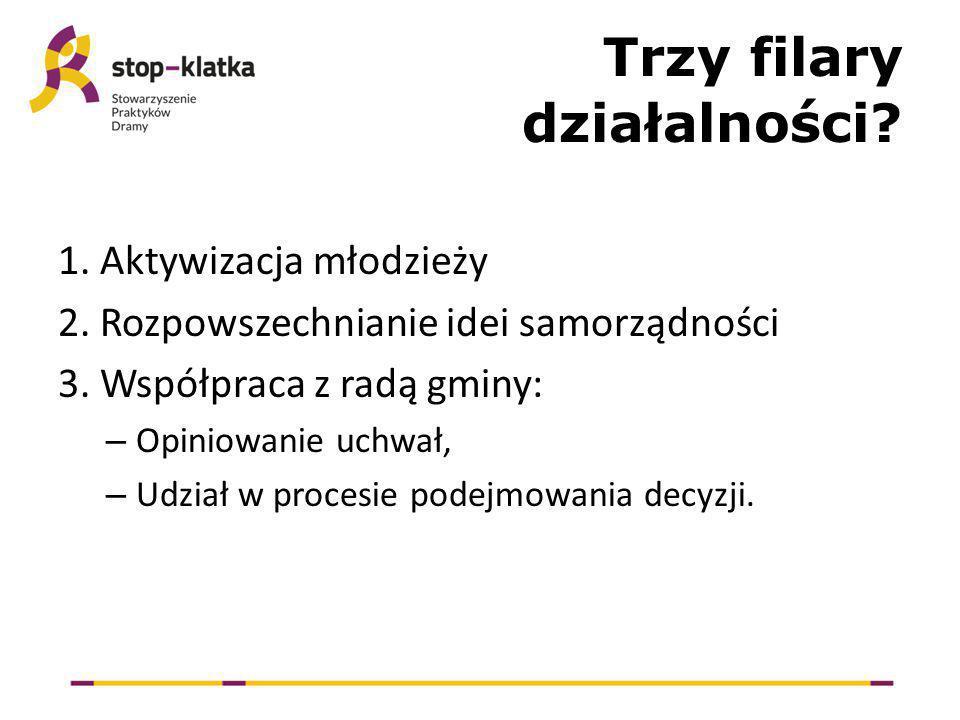 Trzy filary działalności. 1. Aktywizacja młodzieży 2.
