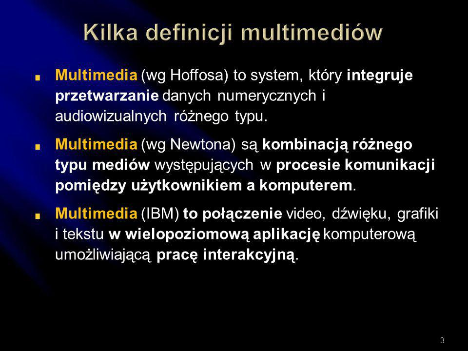 Multimedia (wg Hoffosa) to system, który integruje przetwarzanie danych numerycznych i audiowizualnych różnego typu.