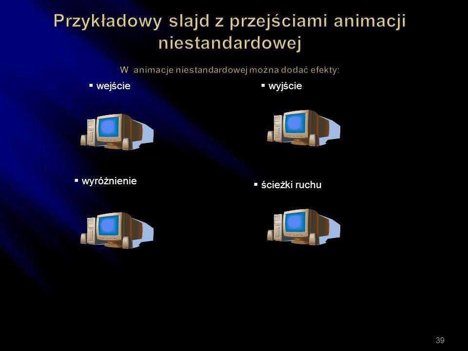  Uruchamianie menu Pokaz slajdy- animacja niestandardowa i schematy animacji 38