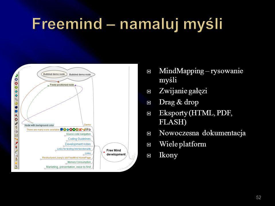  Wiele kodeków  Cięcie  Filtrowanie  Konwersja  Wysoka konfigurowalność  Multiplatformowy  Kolejkowanie / automatyzacja  Wtyczki 51
