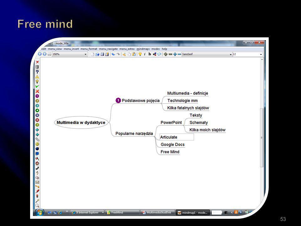  MindMapping – rysowanie myśli  Zwijanie gałęzi  Drag & drop  Eksporty (HTML, PDF, FLASH)  Nowoczesna dokumentacja  Wiele platform  Ikony 52