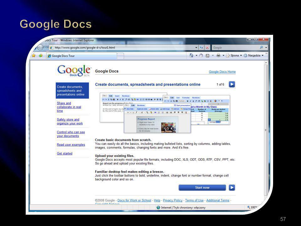 Prezentacja online wybranych miejsc w sieci: Youtube.com (filmy) Sxc.hu (Stock eXChange) Pastebin.ca (wklejanie, skrawki) Google Docs (i wiele innych)