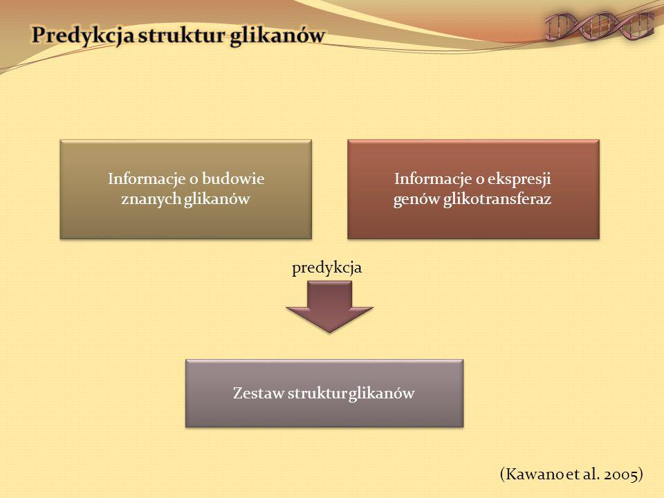 Informacje o budowie znanych glikanów Informacje o budowie znanych glikanów Informacje o ekspresji genów glikotransferaz Informacje o ekspresji genów glikotransferaz Zestaw struktur glikanów predykcja (Kawano et al.